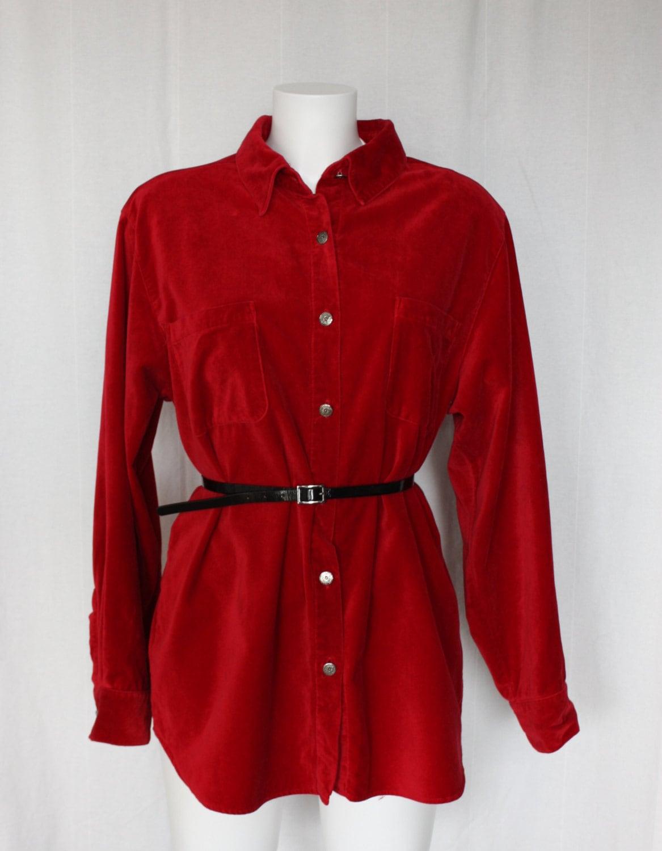 Red cotton velvet shirt plus size vintage by pitzicatvintage for Red velvet button up shirt