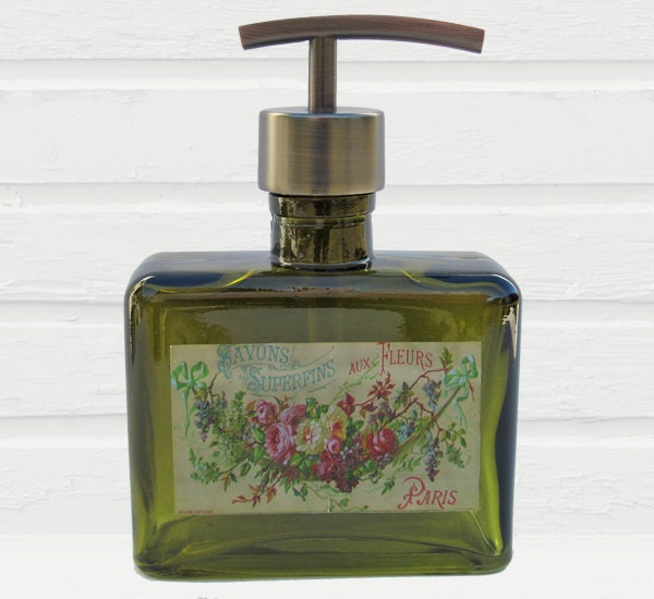 Green Glass Soap Dispenser French Floral Swag By Lovesoldstuff