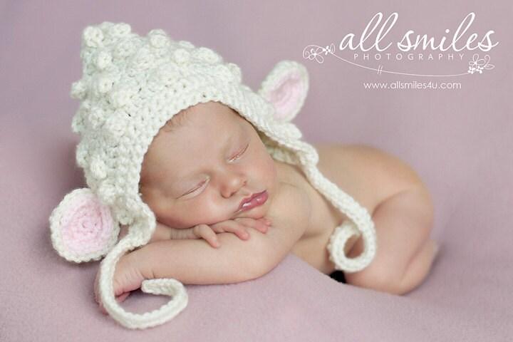 SALE Little Lamb Bonnet Newborn 0-3, 3-6, 6-12, 12-24 months, 2-5 years Ivory White Barley Black Gray