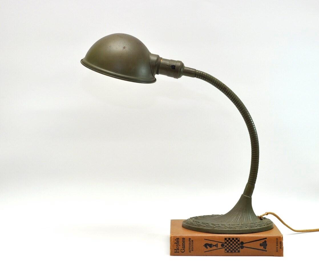 vintage desk lamp metal gooseneck art deco by dooleyfritzvintage. Black Bedroom Furniture Sets. Home Design Ideas