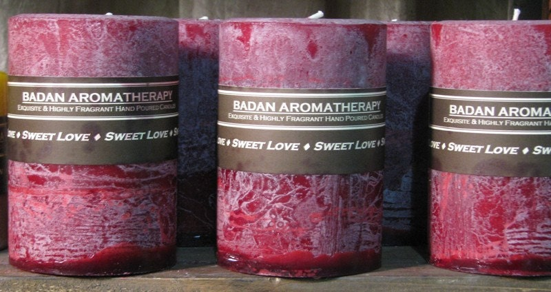 Candle: Fragrant Dark Red Pomegranate Akee Fruit & Musk Pillar Candle 3x4.5 Valentines Gift - Badanbody