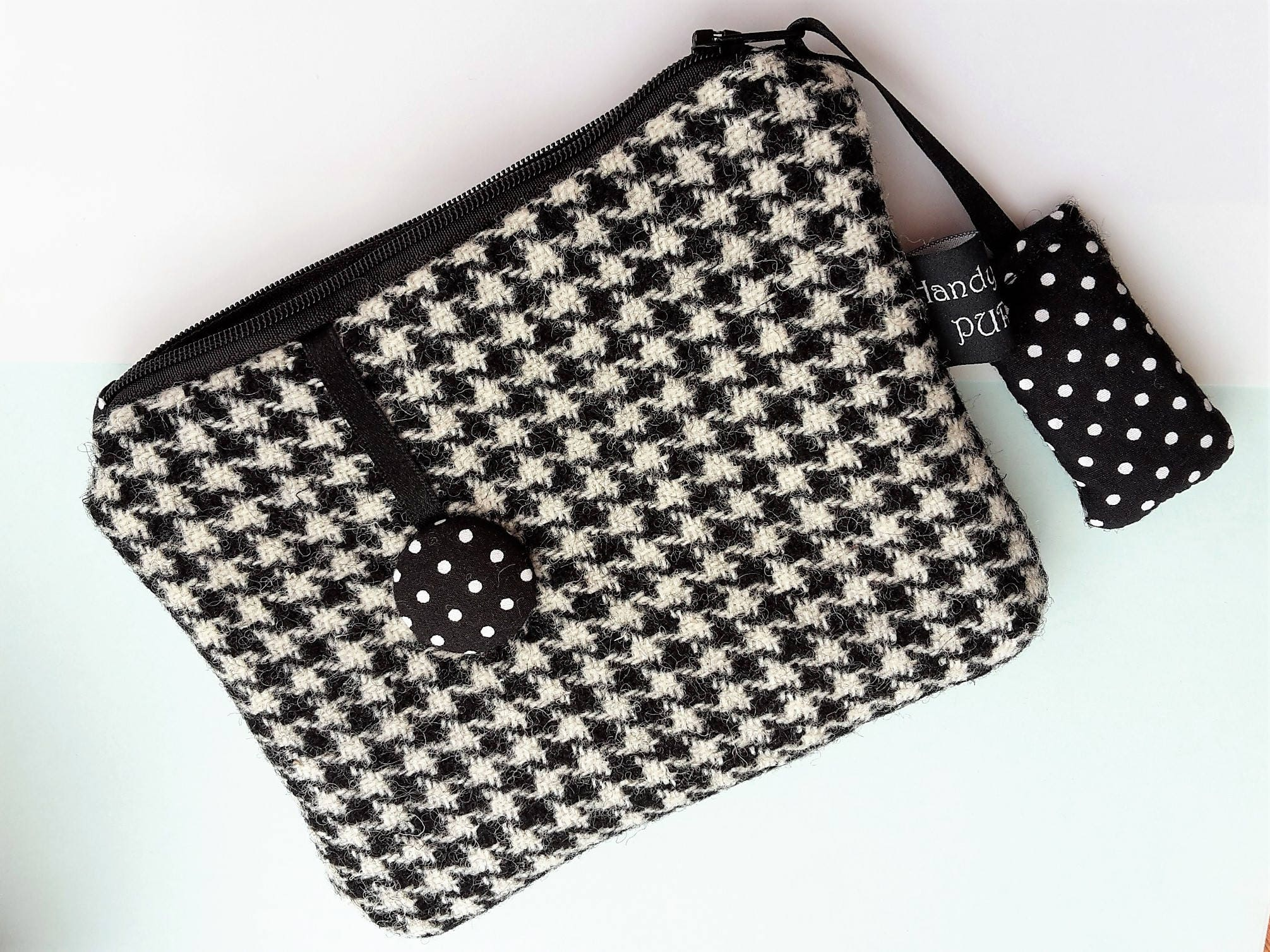 Harris Tweed Black and White Dogtooth Purse with White on Black Polka Dot Print Lining