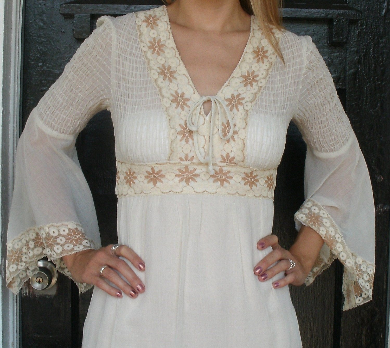 Wedding Dresses With Bell Sleeves: Vintage 1970s Boho Ethereal Bell Sleeve Wedding Dress By