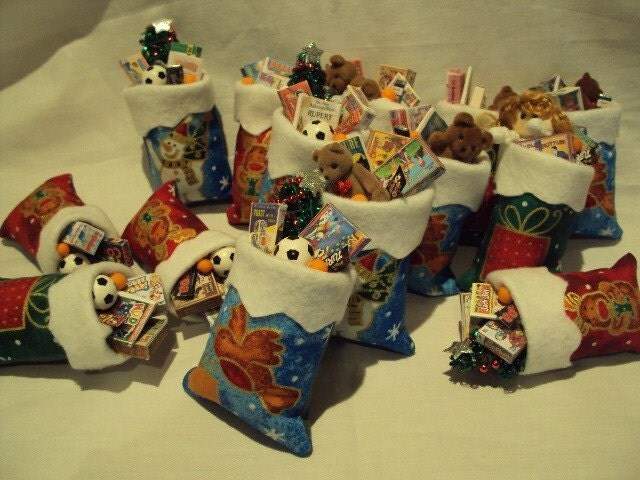 Sack Of Toys For Christmas : Dolls house miniatures christmas toy sack by
