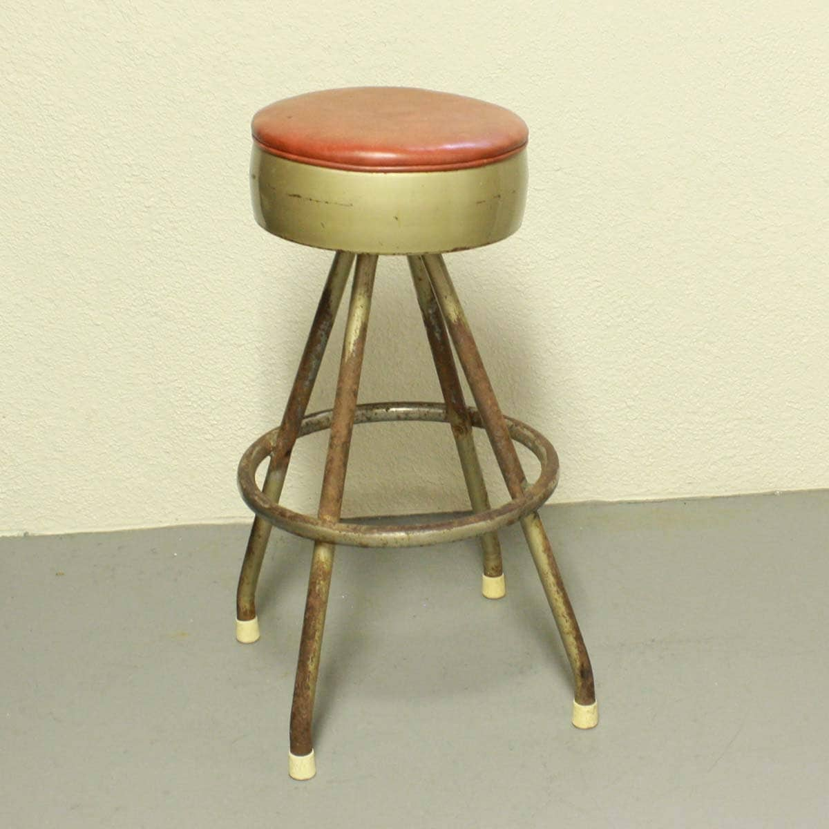 Vintage Stool Metal Seat Bar Stool Swivel By Oldcottonwood