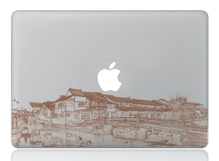 Macbook 13 inch decal sticker old town and apple art for Apple Laptop