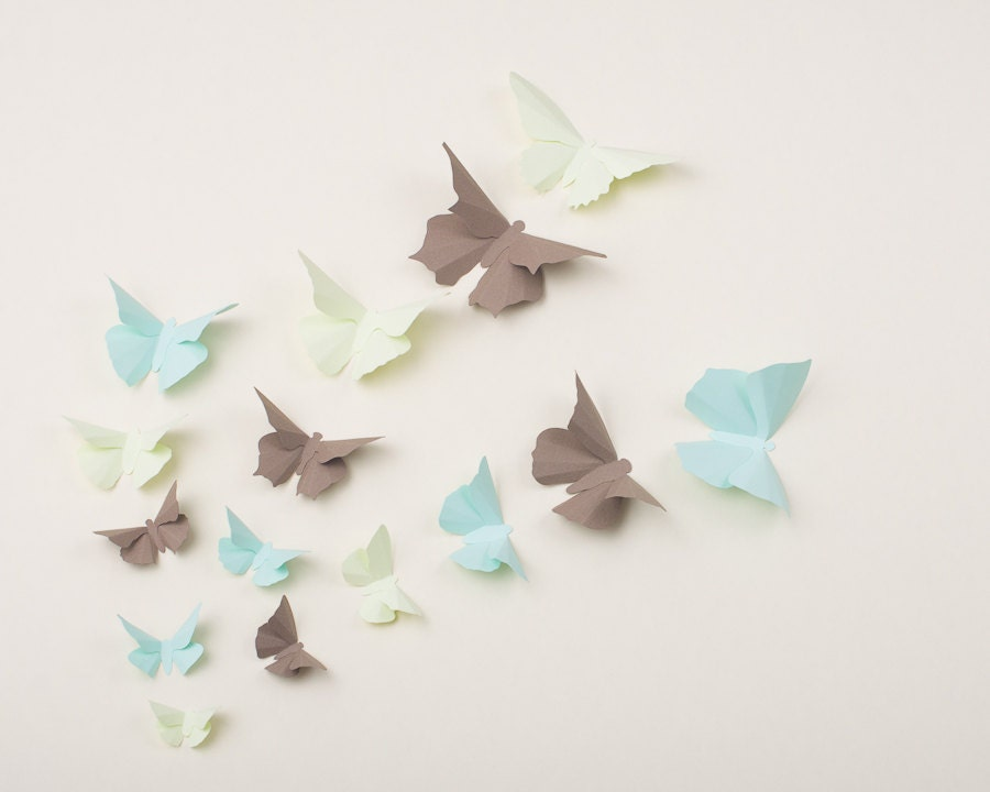 3D Wall Butterflies: Butterfly Wall Art for Nursery, Girl's Room, Classroom or Home Decor in Honeydew, Mint & Chamoisee - hipandclavicle