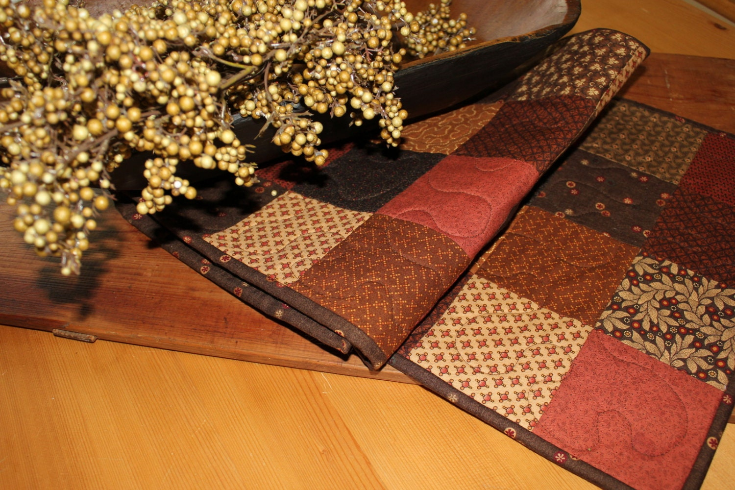 Fall squares quilted table runner - ThePrimitivePear