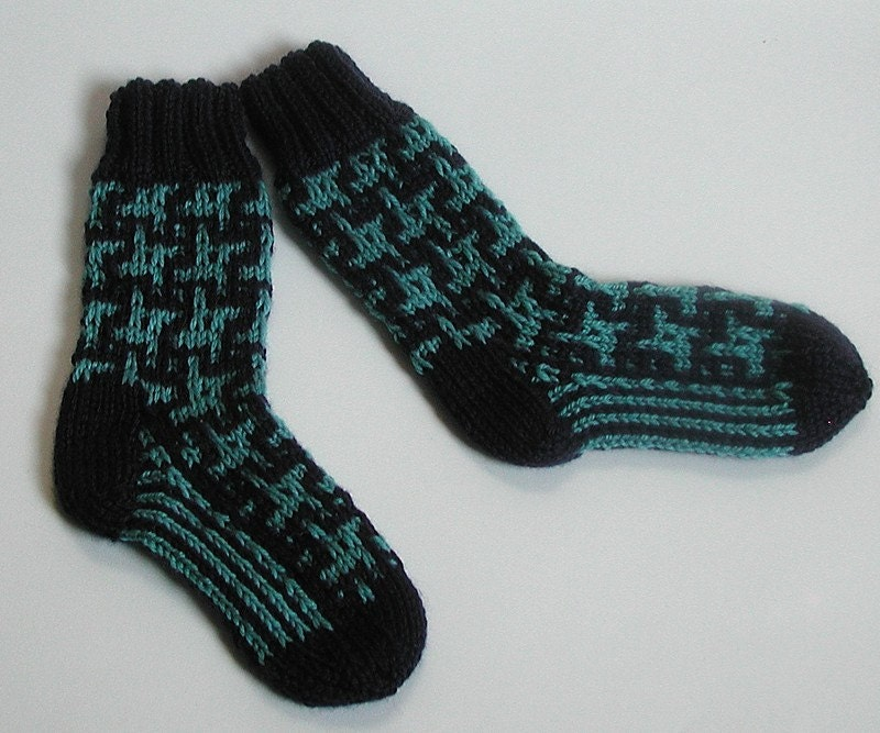 Knit Baby Boot Socks Navy and Turquoise  Size 2.5 to 3 years - BabywearbyBabs
