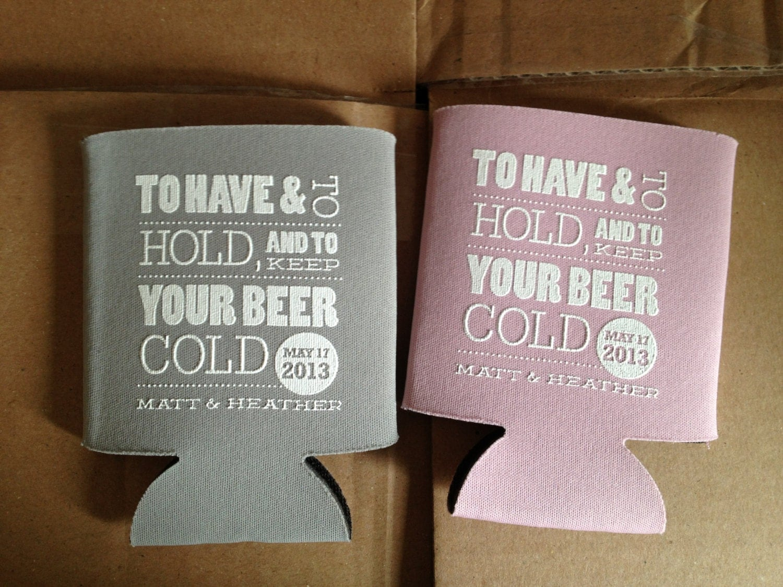 Cold beer koozie custom wedding koozies by rookdesignco on etsy