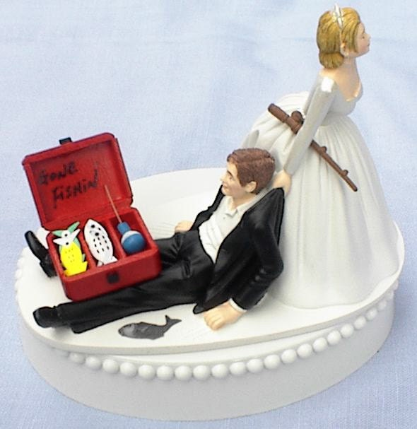 Wedding cake topper gone fishin 39 fishing pole tackle box for Fishing cake toppers