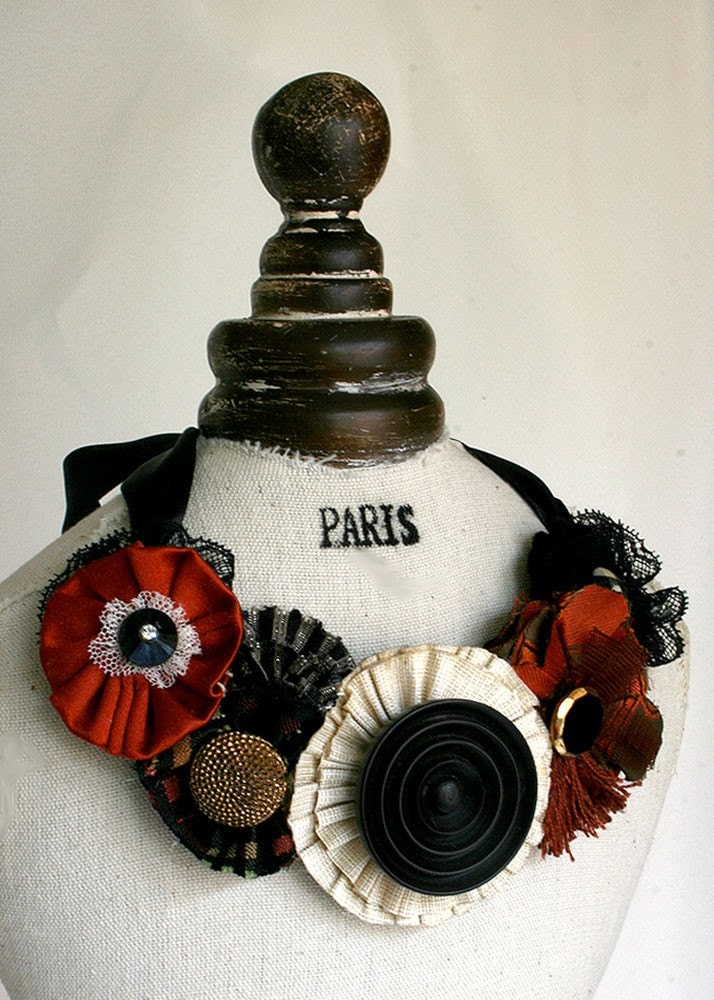 Red, Black Lace and Ivory Blooms Floral Bib Statement Necklace