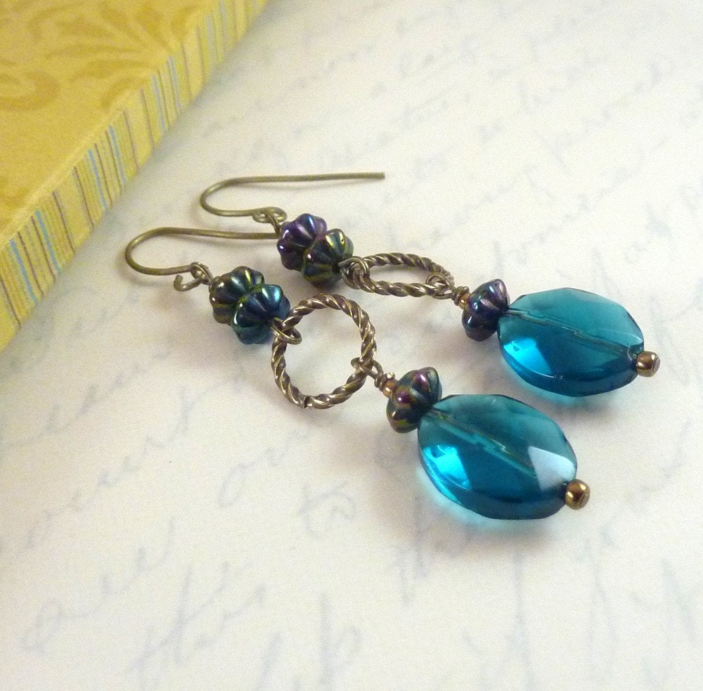 Teal Blue Earrings Oval Beads Bronze Accents Long Dangles