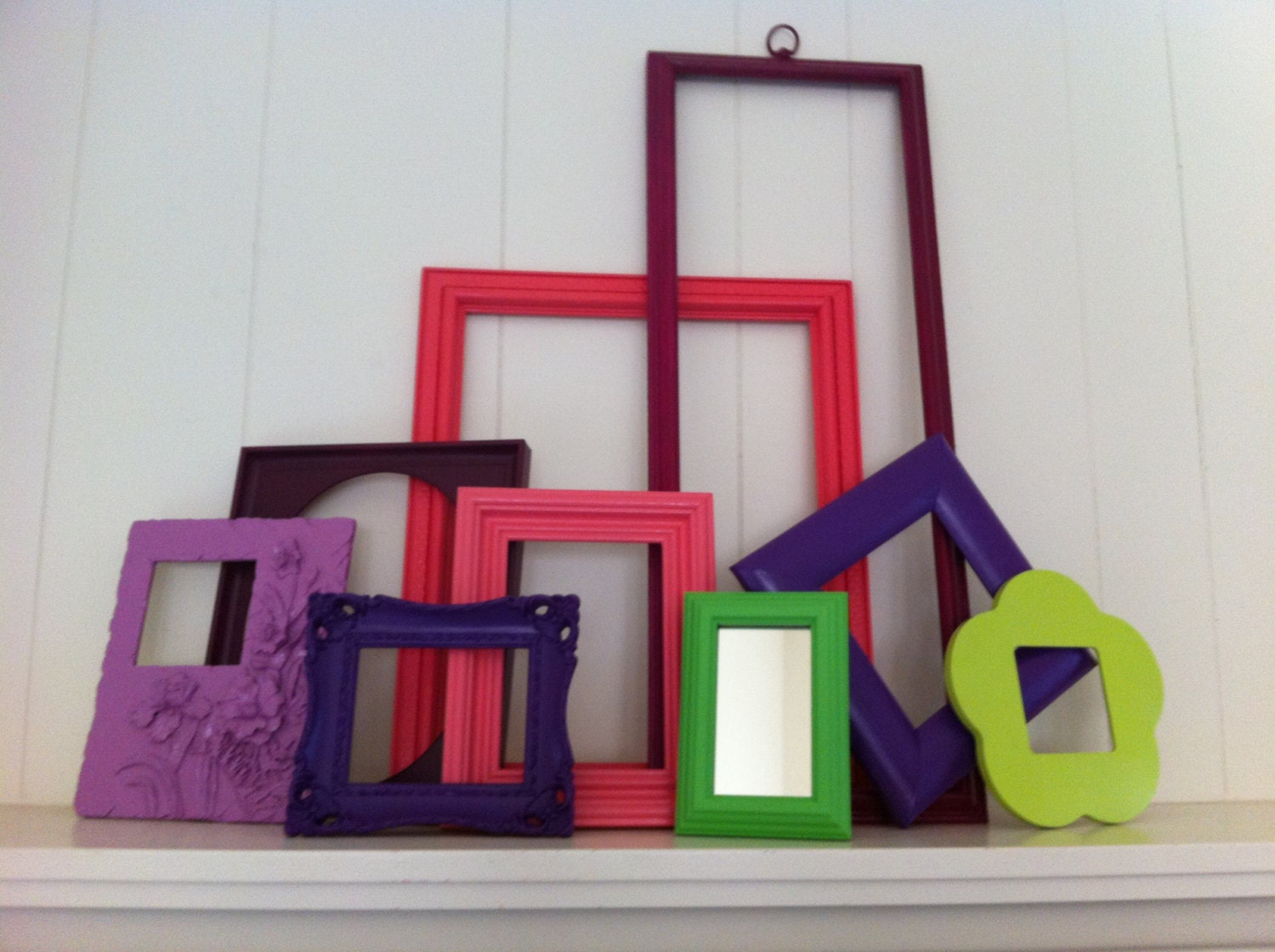 Frame Collage Funky Bright Home Decor Upcycled by FeFiFoFun
