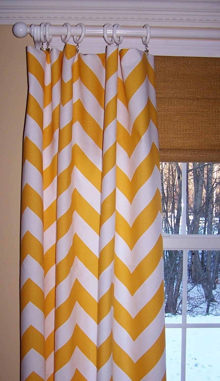 YELLOW CHEVRON CURTAINS Premier Fabric Slub Linen Like Two Custom ...