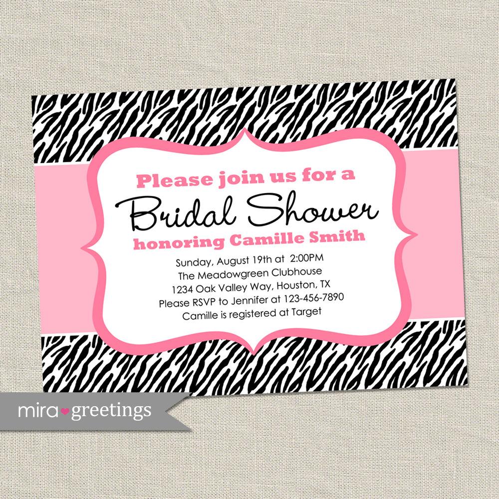 Zebra Bridal Shower Invitation - pink black animal pattern - shower ...