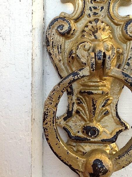 Gold Iron Wall Decor : Shabby chic iron wall decor door knocker chippy by