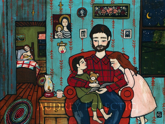PRINT Bedtime Story folk art family painting - audreyeclectic