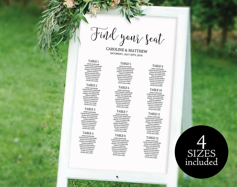 Wedding Table Plan Wedding Seating Chart Seating Chart Template Seating Plan Seating Board PDF Instant Download M011