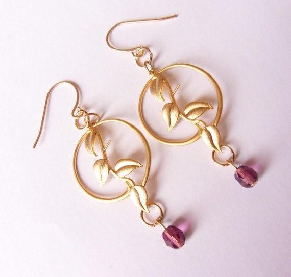 les boucles doreilles feuille cerceaux violet boucles doreilles Boucles doreilles perles Perles croles ohrringe