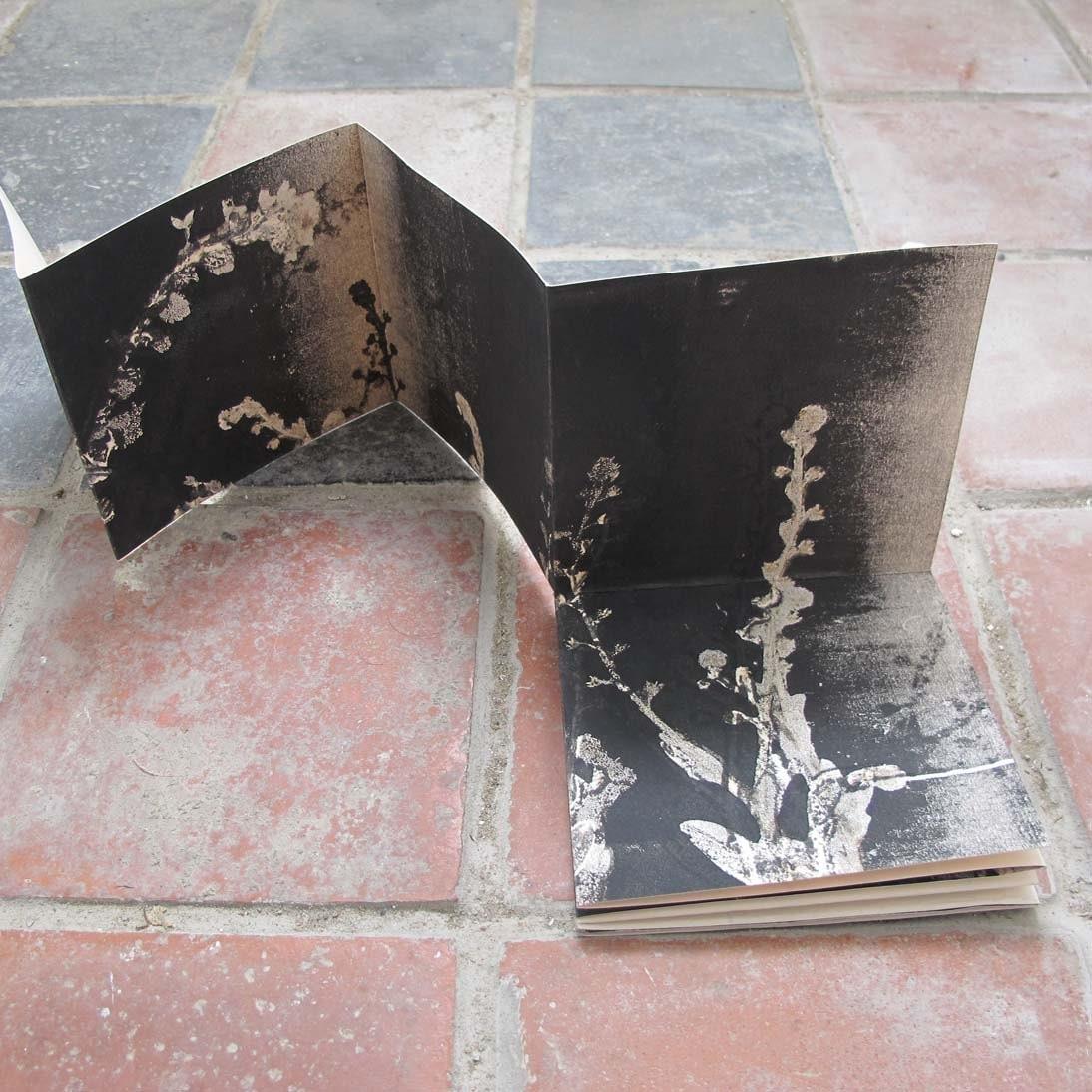 Handmade original botanical art monoprint artist book, keepsake WEDDING FAVOR, gift Forget-me-nots - fieldandhedgerow