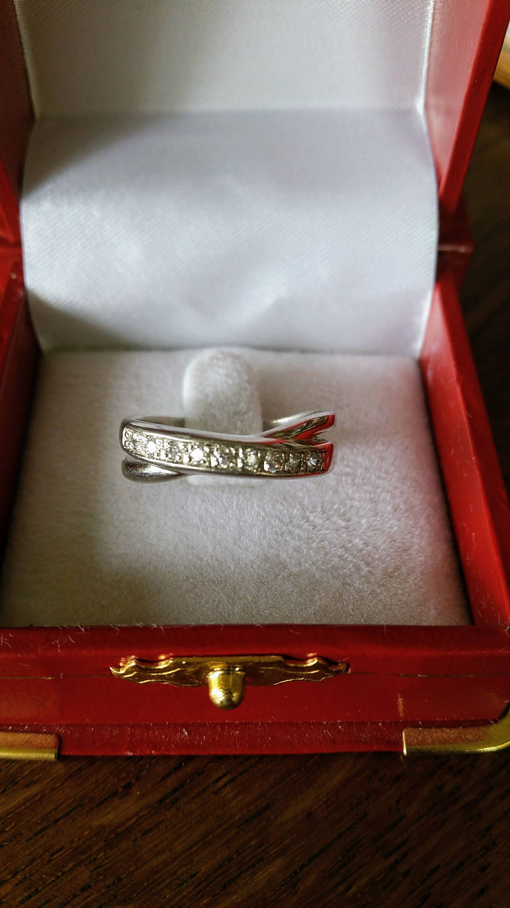 Vintage eternity ring sterling silver cubic zirconia cross over ring size R 925 silver US ring size 8 34 anniversary birthday gifts