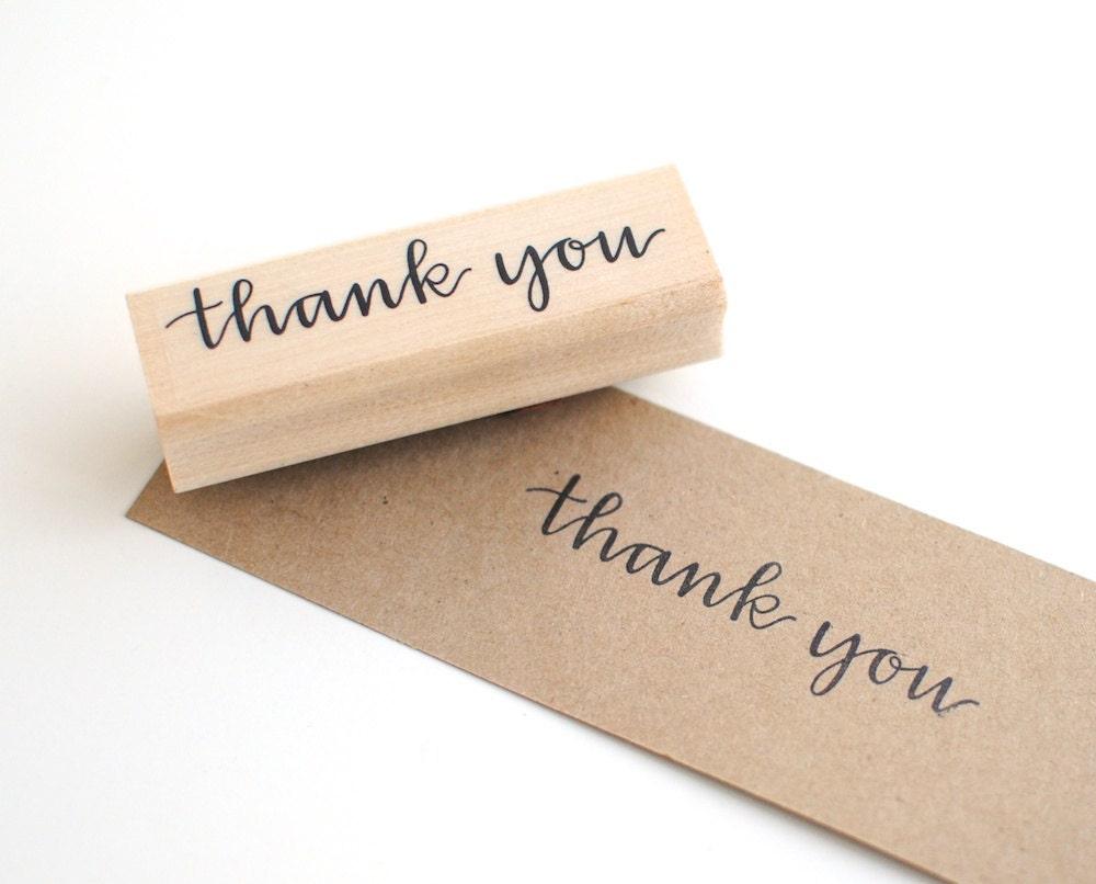 Thank You Stamp, Handwritten Calligraphy, Art Mount Stamp, Rubber Stamp, DIY Stationery Supply, DIY Wedding - EmDashPaperCo