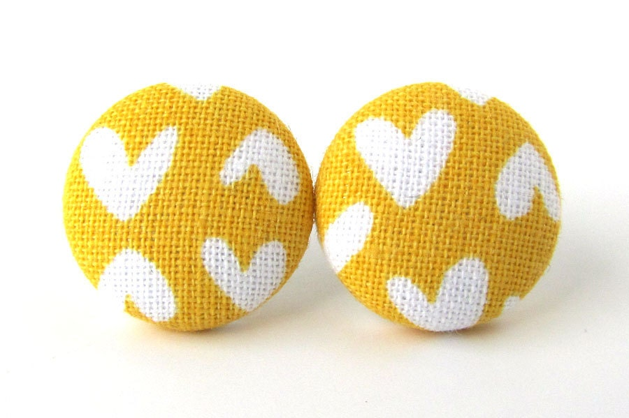Mustard yellow stud earrings hearts bright funky spring