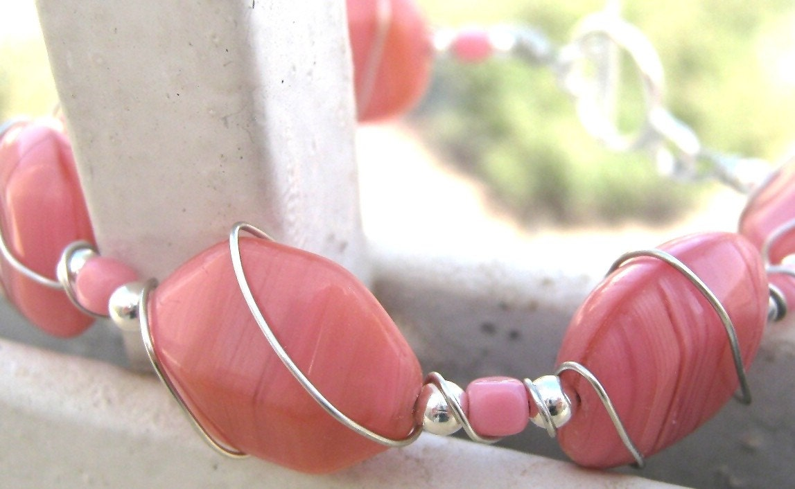 Rose Handcrafted wire wrapped bracelet - Pretty in Pink