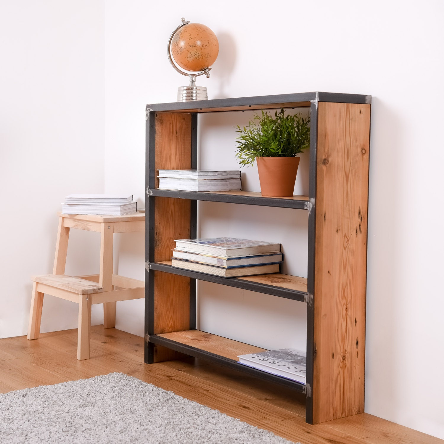 Reclaimed Wood Bookcase Reclaimed Shelving Unit Rustic Bookcase Reclaimed Bookcase Industrial Bookcase Steel And Wood Bookcase Book