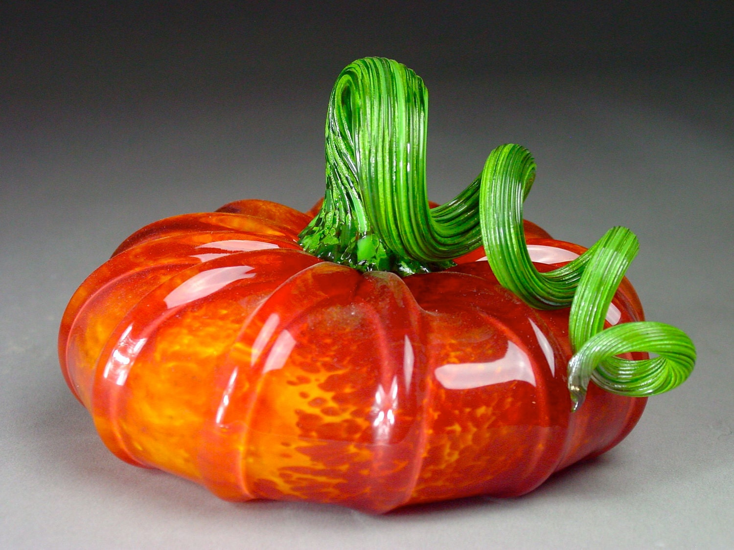 Hand Blown Glass Pumpkin  Garden Half Red/Gold - dunnikerdesigns