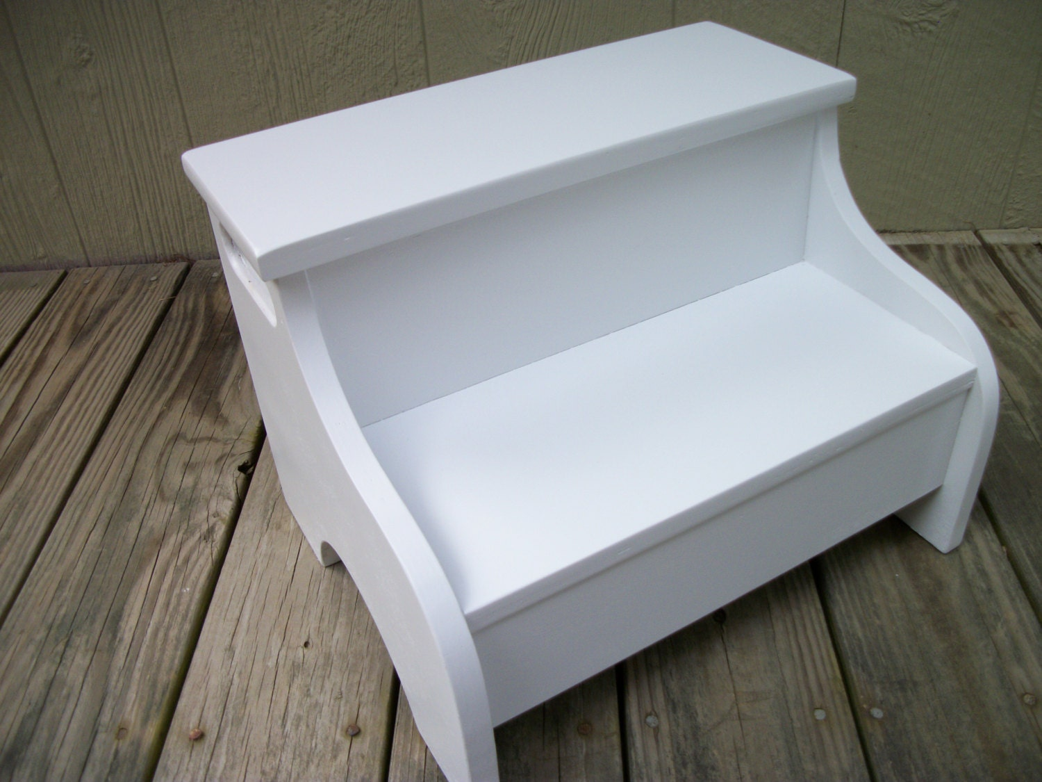 Kids Painted Wooden Step Stool White By Clemswshop On Etsy