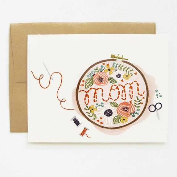 Embroidered Mother's Day Card 1pc - QuillandFox