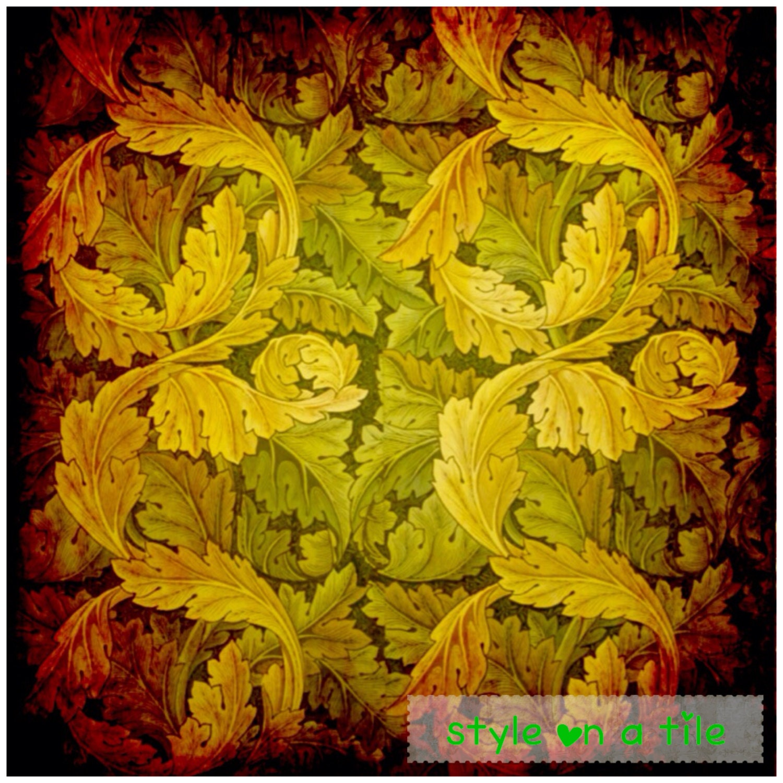 Lovely William Morris Autumn Acanthus design chinchilla glass teapot trivet cake plant coffee pot stand