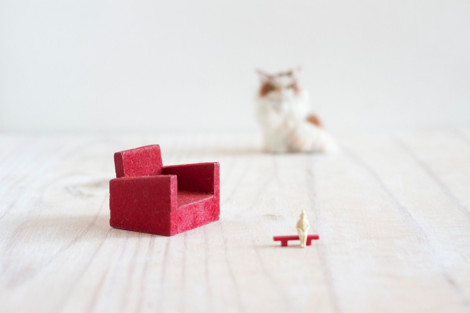 Teeny Weeny Vintage Red Arm Chair - Doll's House Miniature Living Room - MeangleanAlchemist