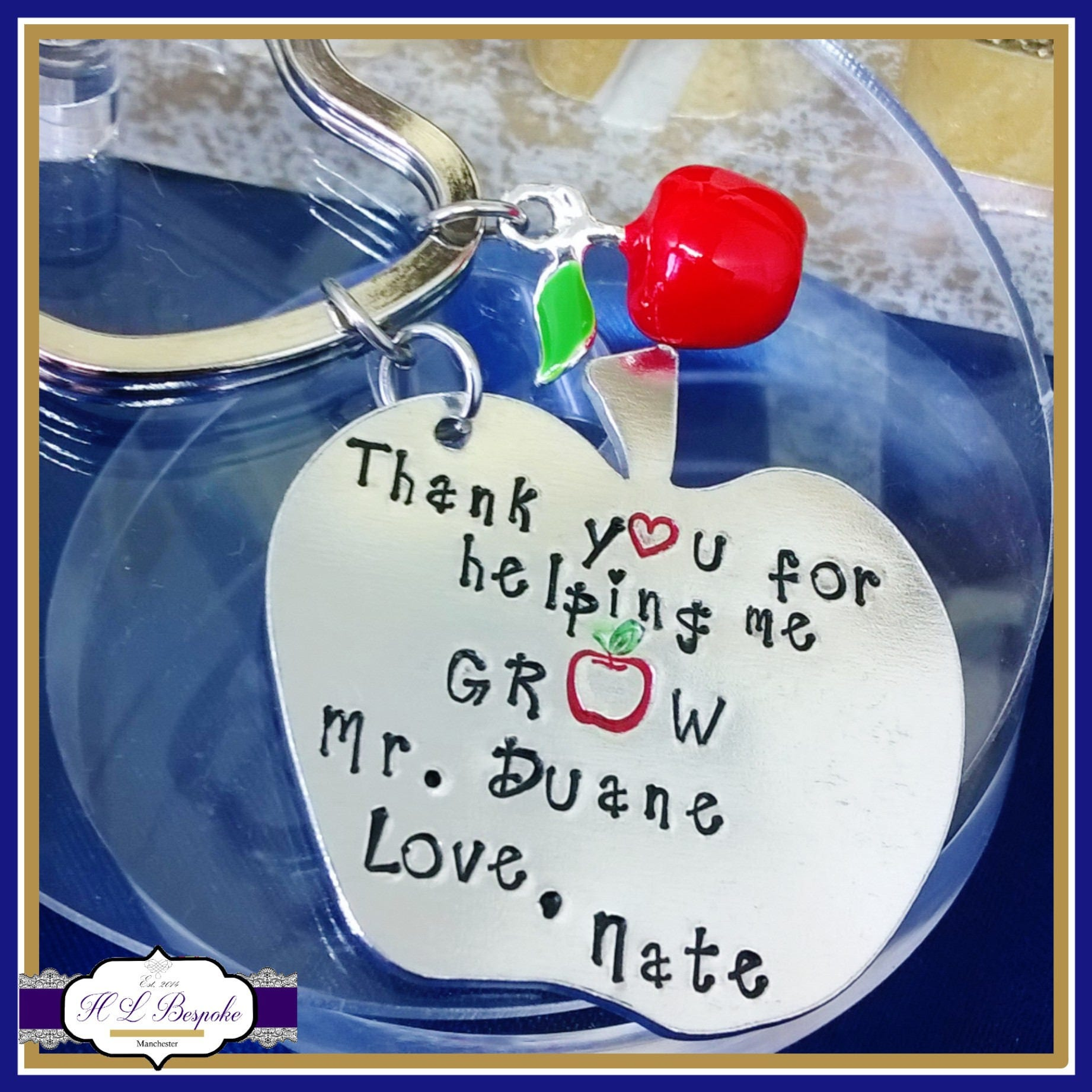 Personalised Teacher Keyring Gift  Hand Stamped with Teachers Name and Childs  Thank You For Helping Me Grow quote with 3D Apple Charm