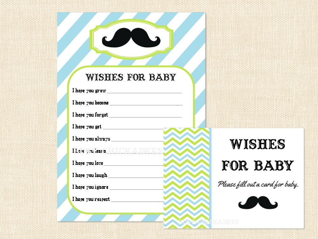 mustache wishes for baby shower advice boy by busychickadees