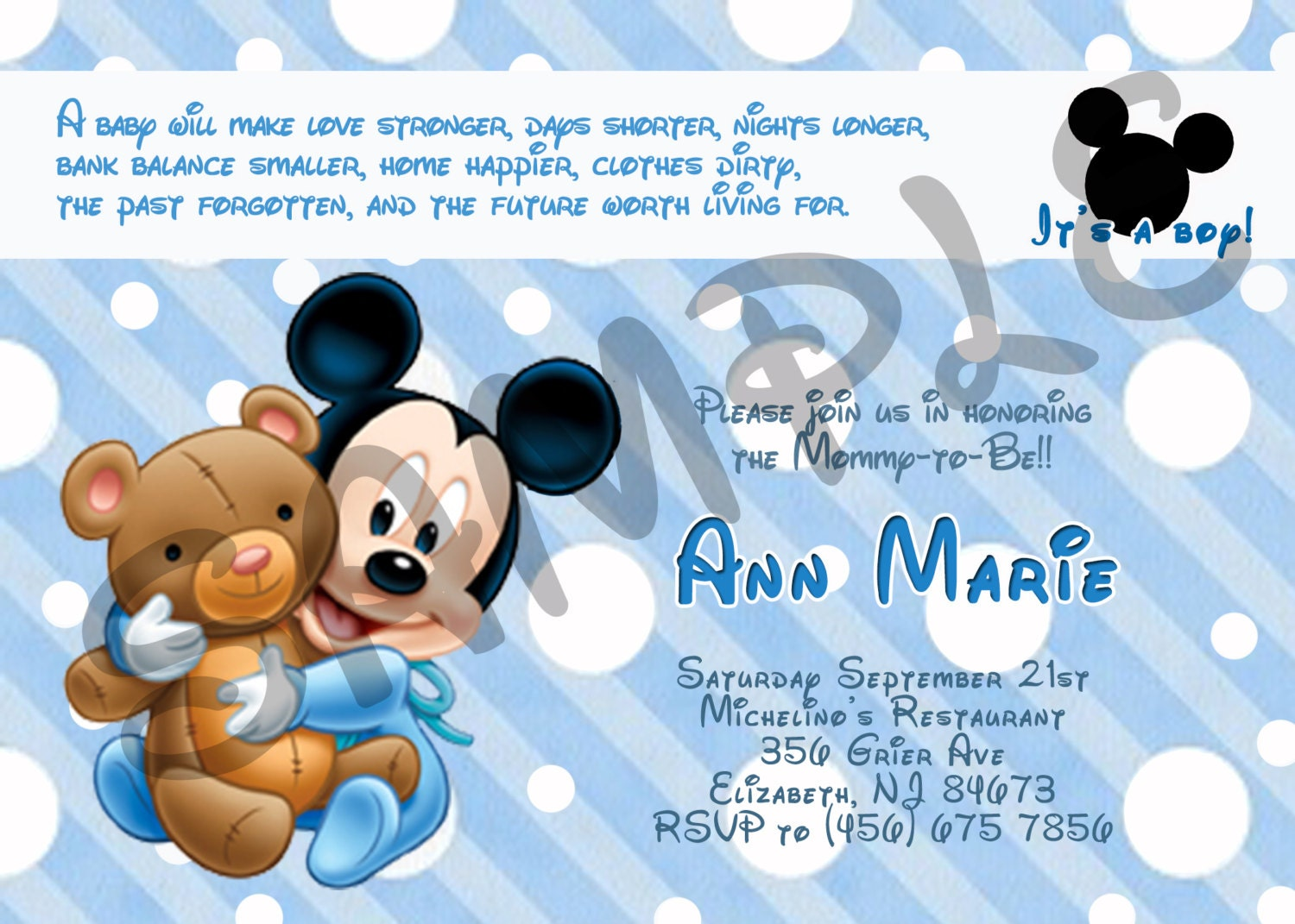 mickey mouse baby shower invitation by eqpartyinvitations on etsy
