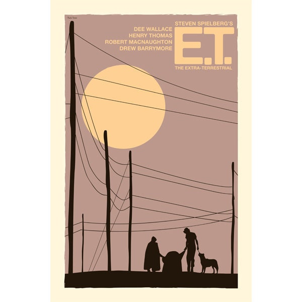 Movie poster retro print E.T.: The Extra-Terrestrial 12x18 inches