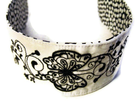 Embroidered Reversible Headband Recycled Paraglider Black and White Butterfly - OffChutes