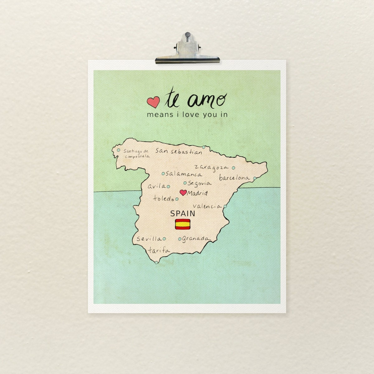 I Love You in Spain Illustration Print Map by LisaBarbero