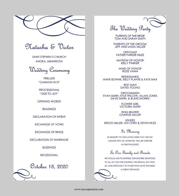 wedding program templates for microsoft word