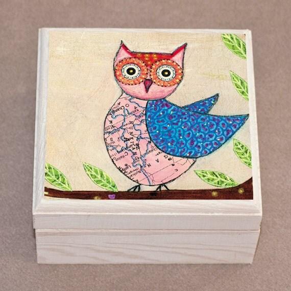 Owl Jewelry Box Blue and Pink Owl Wooden Jewelry Box Owl Trinket box