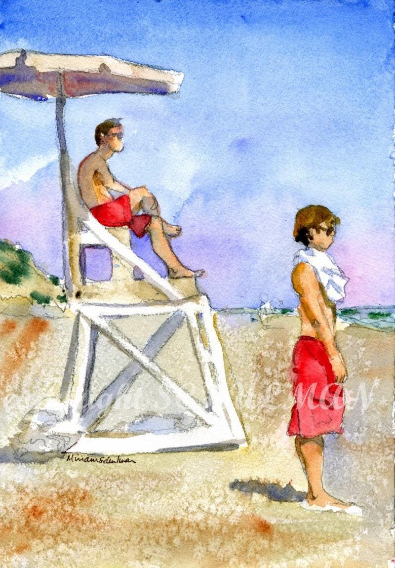 Wellfleet, Cape Cod, watercolor PRINT, Lifeguards on the beach classic red, sand dunes blue sky