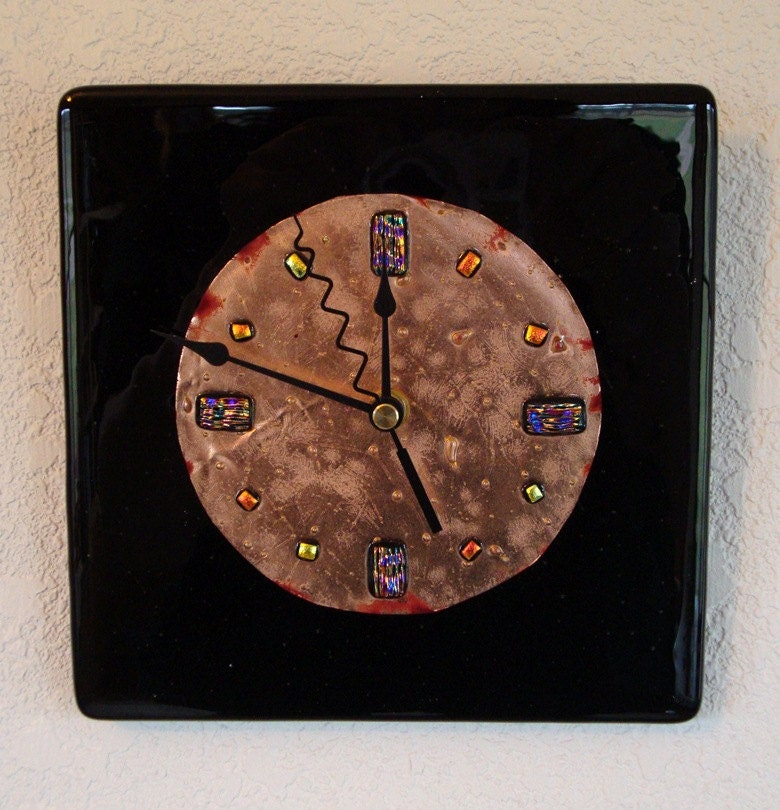 Fused glass copper wall clock black by fireflysg on etsy for Fused glass wall clocks