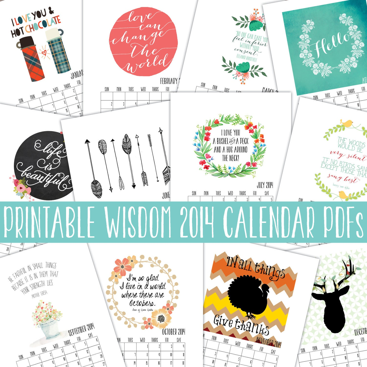 Diy Quote Calendar : Instant download printable calendar by printablewisdom