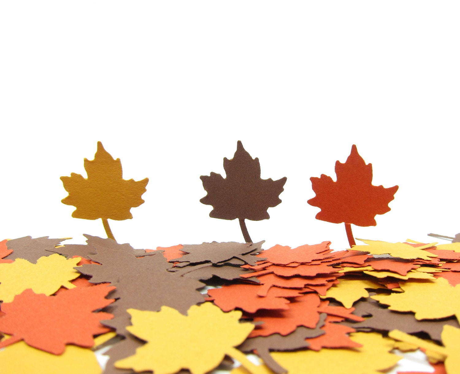 Autumn Leaves Confetti Large Maple Leaf Paper Punches in Orange Brown & Yellow - BrownEyedRose