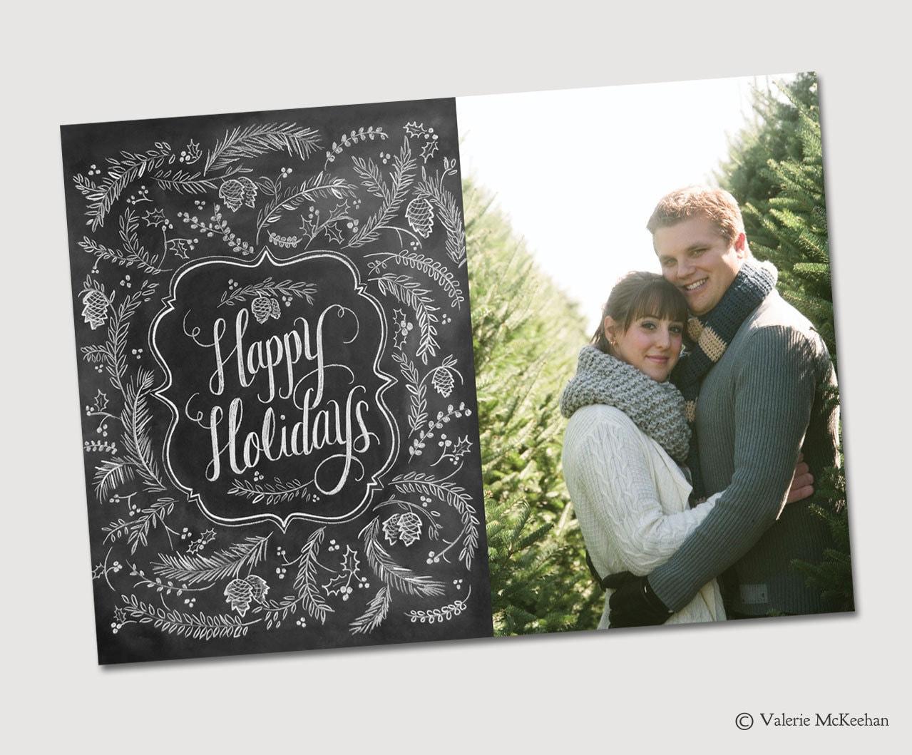 Items similar to digital chalkboard christmas card photo christmas card happy holidays card for Chalkboard christmas cards