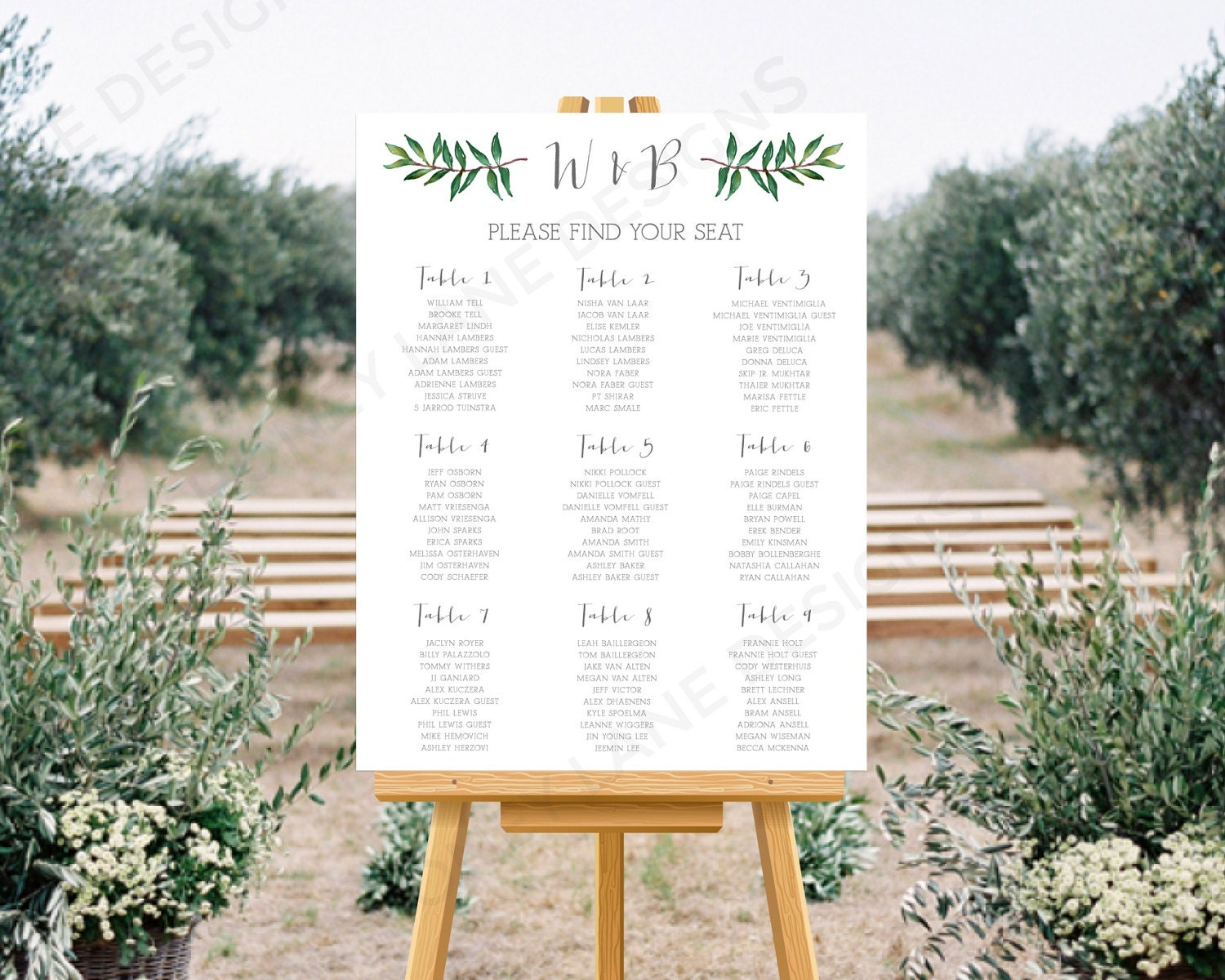 Personalised Printable Wedding Seating Chart Wedding Table Plan Brooke Collection