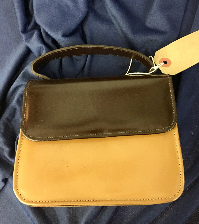 Mod  small handbag  leather look  1960s style  brown  small evening bag  ladies bag